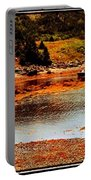 Red Boat At Low Tide Triptych Portable Battery Charger