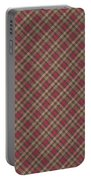 Red Brown And Green Diagonal Plaid Pattern Fabric Background Portable Battery Charger