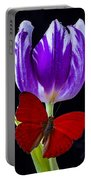 Red Butterfly And Purple Tulip Portable Battery Charger