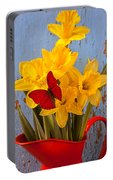 Red Butterfly On Daffodils Portable Battery Charger