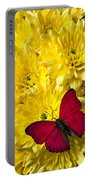 Red Butterfly On Poms Portable Battery Charger
