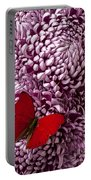 Red Butterfly On Red Mum Portable Battery Charger