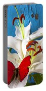 Red Butterfly On White Tiger Lily Portable Battery Charger
