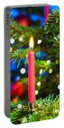 Red Candles In Christmas Tree Portable Battery Charger