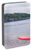 Red Canoe And Woman In Green Dress Portable Battery Charger