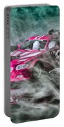 Red Car Driving Through Smoke Portable Battery Charger