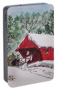 Red Covered Bridge Christmas Portable Battery Charger
