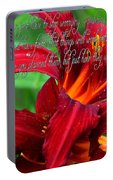 Red Day Lily And Quote Portable Battery Charger
