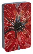 Red Flower 2 - Vibrant Red Floral Art Portable Battery Charger