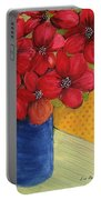Red Flowers In A Blue Vase Portable Battery Charger