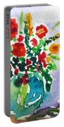 Red Flowers In A Vase Portable Battery Charger
