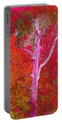 Pink Tree In A  Red Forest Portable Battery Charger