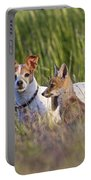 Red Fox Cub With Jack Russel Portable Battery Charger