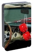 Red Fuzzy Dice In Converible Portable Battery Charger