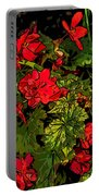 Red Geranium Line Art Portable Battery Charger