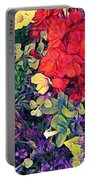Red Geranium With Yellow And Purple Flowers - Horizontal Portable Battery Charger