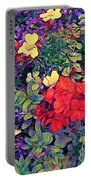 Red Geranium With Yellow And Purple Flowers - Vertical Portable Battery Charger