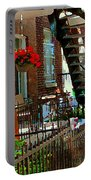 Red Geraniums Verdun Winding Staircases Hanging Flower Basket Montreal Porch Scene Carole Spandau Portable Battery Charger