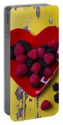 Red Heart Dish And Raspberries Portable Battery Charger