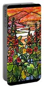 Stained Glass Tiffany Red Hollyhocks In Landscape In Watercolor Portable Battery Charger
