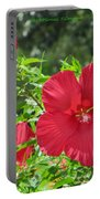 Red Hollyhocks Portable Battery Charger