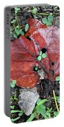 Red Leaf On Green Portable Battery Charger