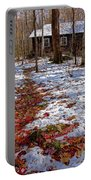 Red Leaves On Snow - Cabin In The Woods Portable Battery Charger