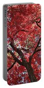 Red Leaves On Tree Portable Battery Charger