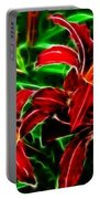 Red Lilies Expressive Brushstrokes Portable Battery Charger