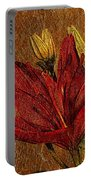 Red Lily Gold Leaf Portable Battery Charger