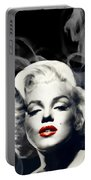 Red Lips Marilyn In Smoke Portable Battery Charger
