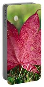 Red Maple Leaf And Dew Portable Battery Charger