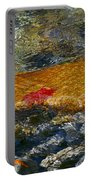 Red Maple Leaf In Stream Portable Battery Charger