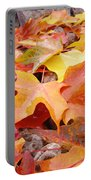 Red Orange Autumn Leaves Art Prints Portable Battery Charger