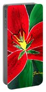 Red Oriental Daylily Portable Battery Charger