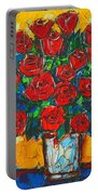 Red Passion Roses Portable Battery Charger by Ana Maria Edulescu