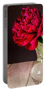 Red Peony Flower Vase Portable Battery Charger by Edward Fielding
