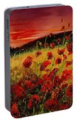 Red Poppies And Sunset Portable Battery Charger