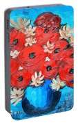 Red Poppies And White Daisies Portable Battery Charger