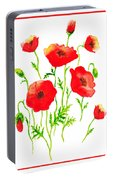 Red Poppies Botanical Design Portable Battery Charger
