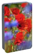 Red Poppies In The Maedow Portable Battery Charger