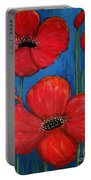 Red Poppies On Blue Portable Battery Charger