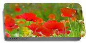 Red Poppy Flowers Meadow Art Prints Portable Battery Charger