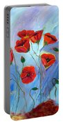 Red Poppy With Dragonfly Portable Battery Charger