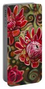 Red Proteas Portable Battery Charger by Jen Norton