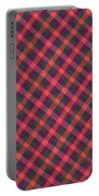 Red Purple And Green Diagonal Plaid Textile Background Portable Battery Charger
