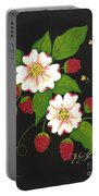 Red Raspberries And Dogwood Flowers Portable Battery Charger