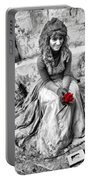 Red Red Rose In Black And White Portable Battery Charger