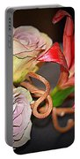 Purple Roses And Red Lily Portable Battery Charger
