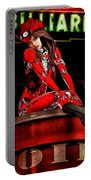 Red Robot On A Saturday Night  Portable Battery Charger by Bob Orsillo